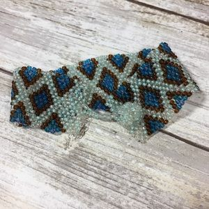 Jewelry - Woven beaded panel bracelet blue and green